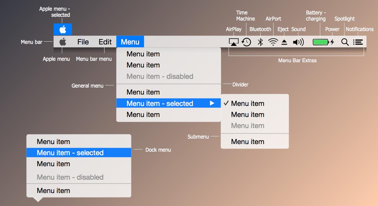 OS X 10.10 Yosemite Menus Library