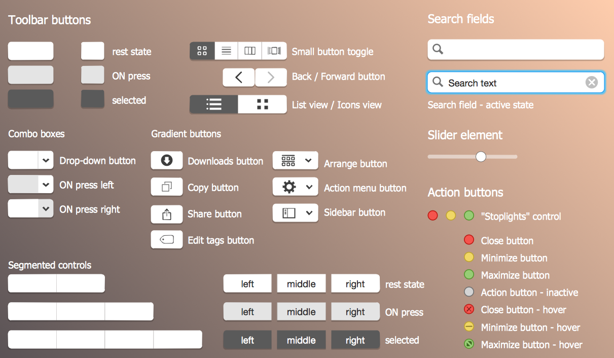 Toolbar Buttons and Elements Library