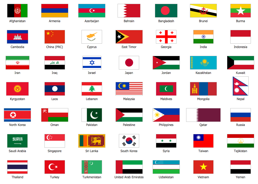 Map of ContinentsFlags Of Asia With Names