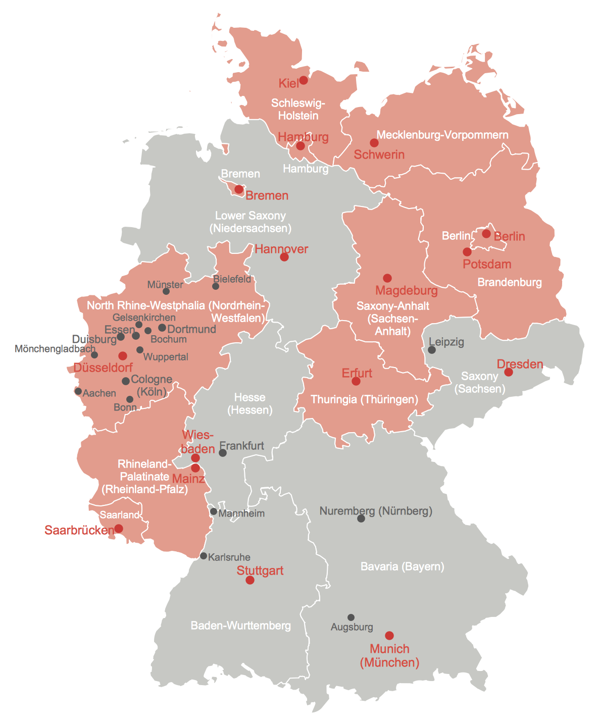 Gelsenkirchen Germany Map.Map Of Germany With Cities