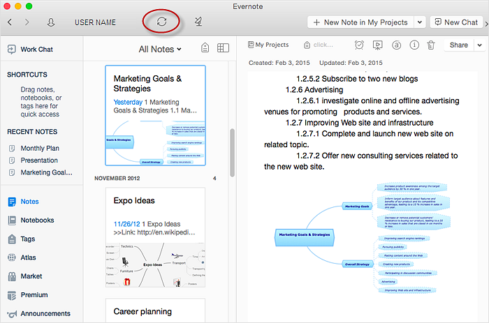 How to Send a Mind Map to Evernote