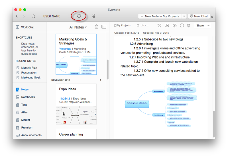 Send a Mind Map to Evernote