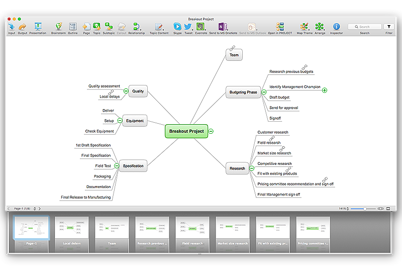 Copy and paste text into mind map