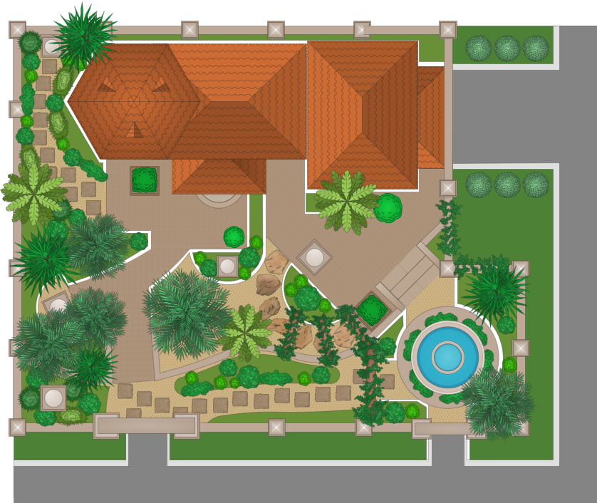 Modern garden design for Landscape house plan