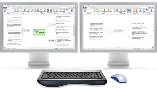 Use two monitors to edit a mind map
