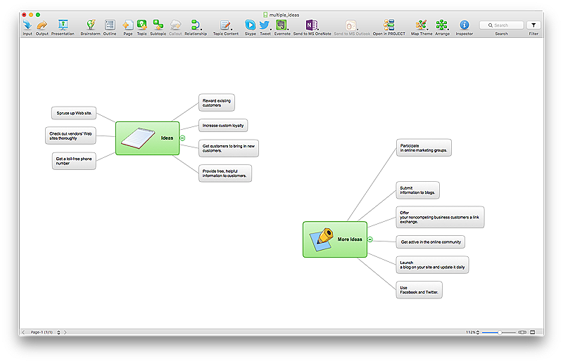 ConceptDraw MINDMAP supports multiple idea mind map