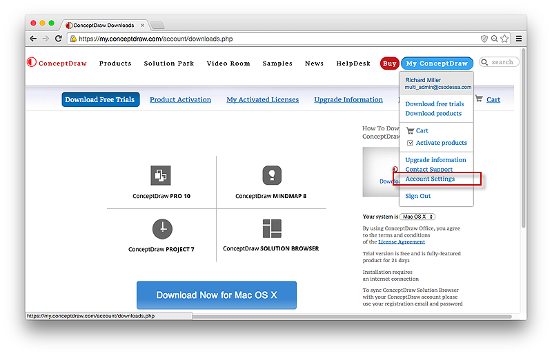 conceptdraw account management panel - Conceptdraw Download