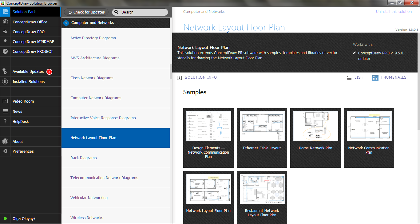 Network Layout Floor Plans Solution in Solution Browser