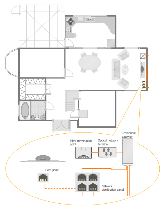 Network visualization for Draw house plans on computer