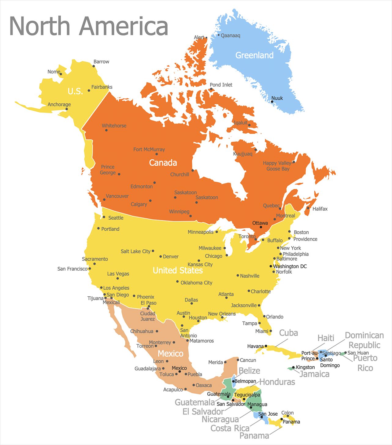 North America map with capitals - Template | North America ...