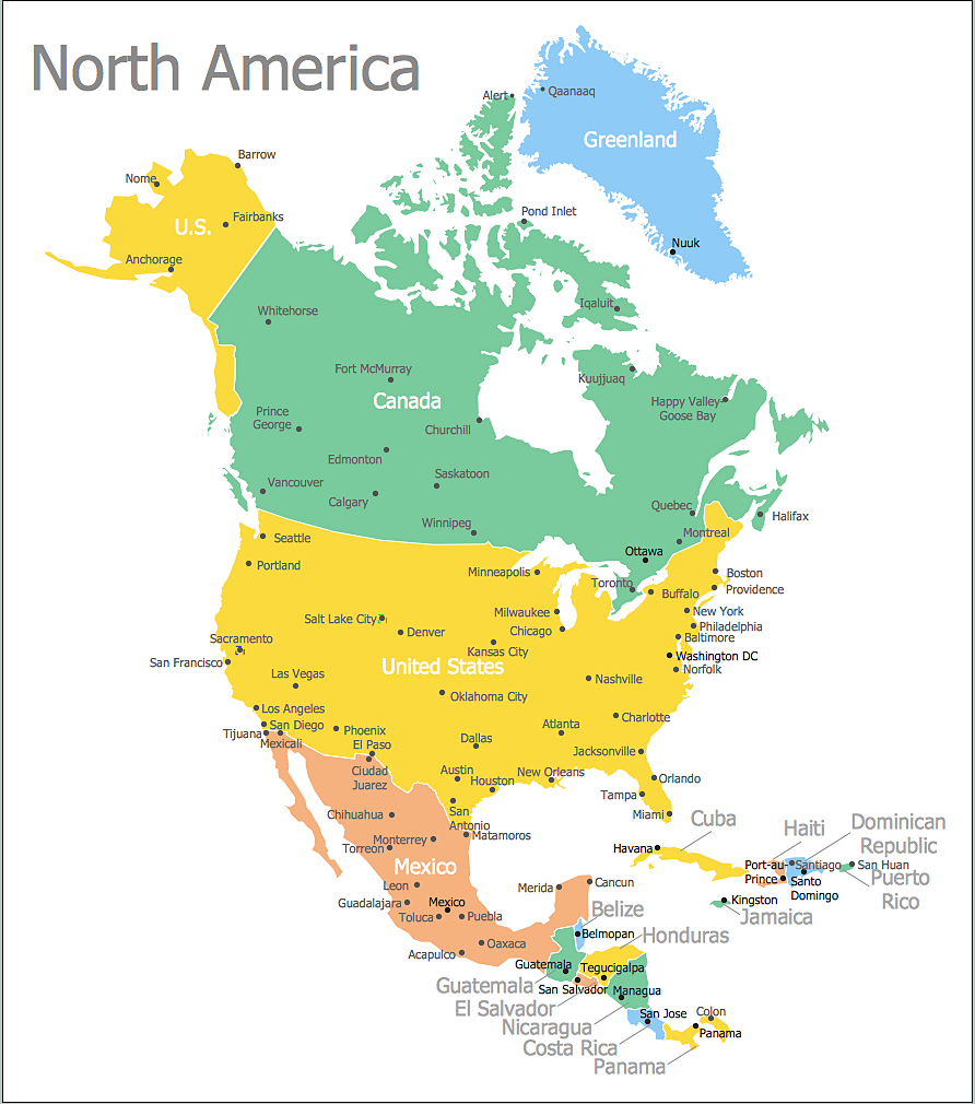 North America Map with Capitals