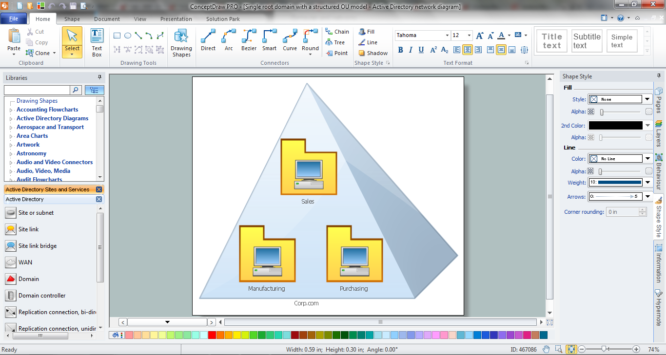 Active Directory Diagram in ConceptDraw DIAGRAM title=
