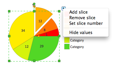 Percentage pie chart with shifted slices object with action menu