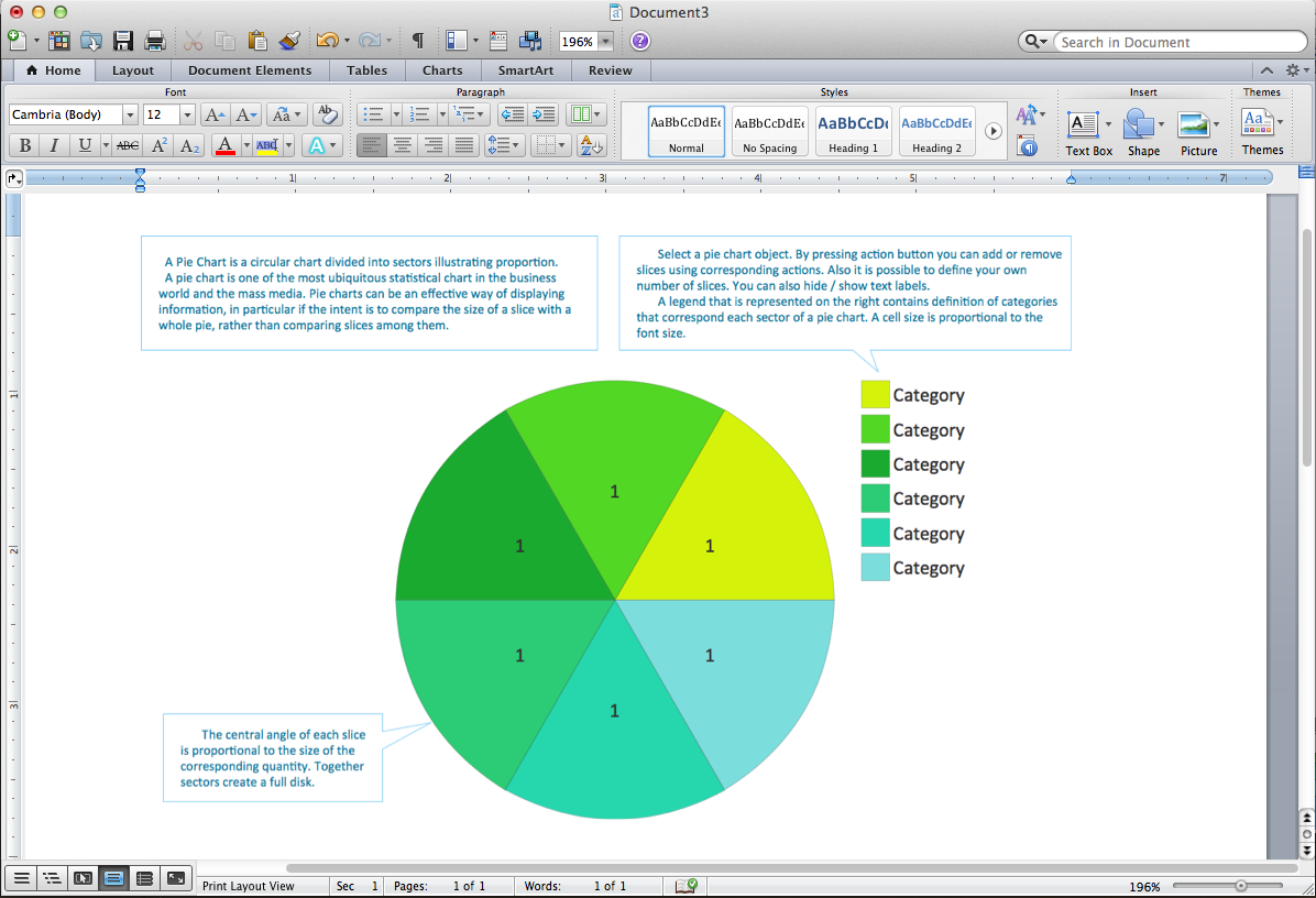Attractive Pie Chart Word Template In Ms Word Chart Templates