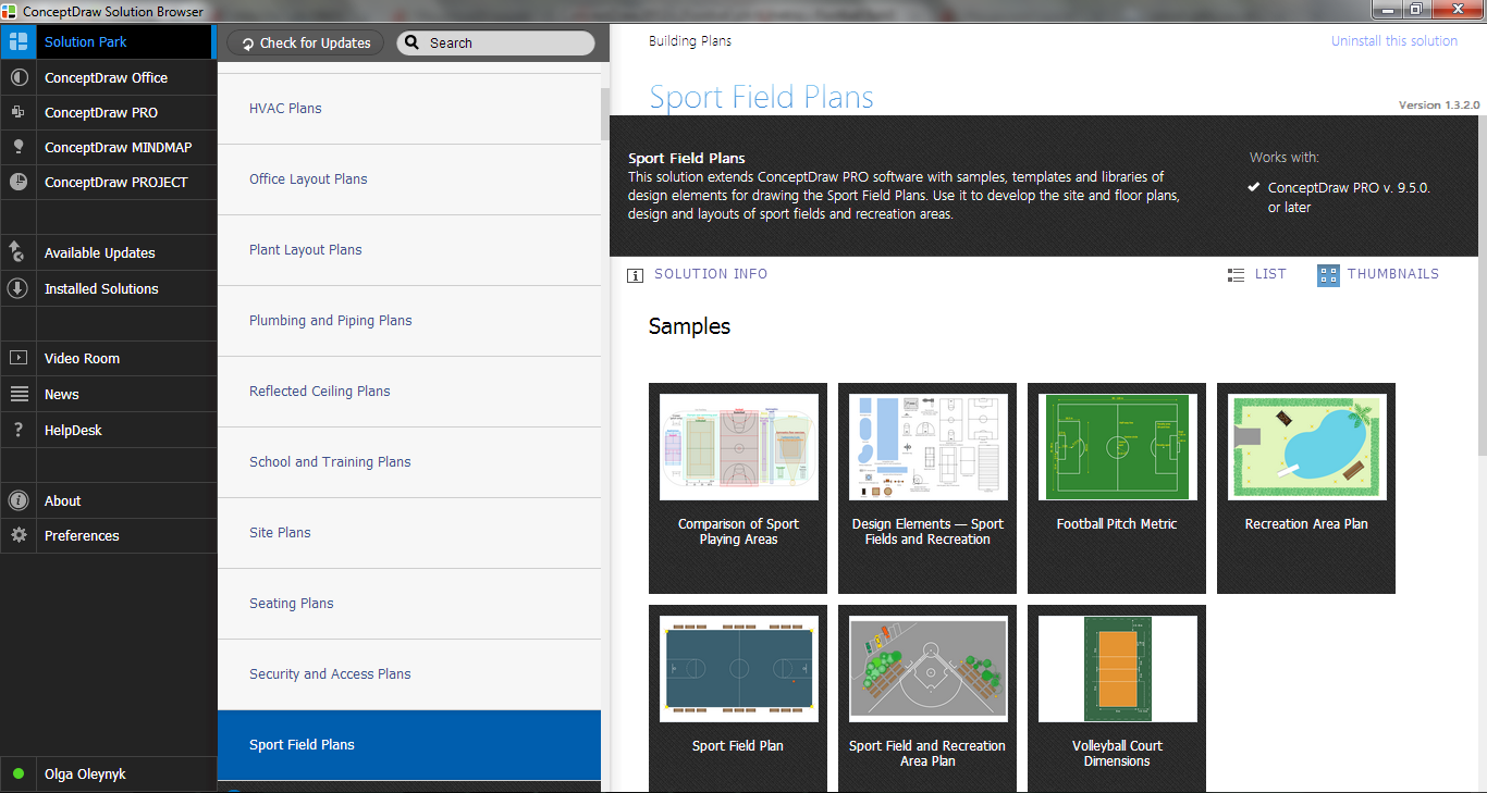 Sport Field Plans Solution in ConceptDraw STORE