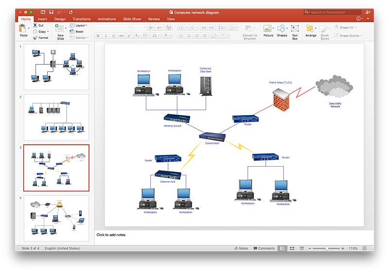 how to add a telecommunication network diagram to a powerpoint    powerpoint conceptdraw network topology diagram