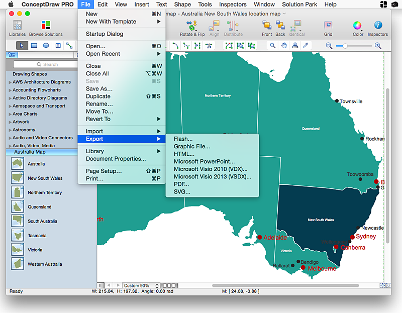 Australia Map Video.How To Draw Maps Of Australia Using Conceptdraw Pro