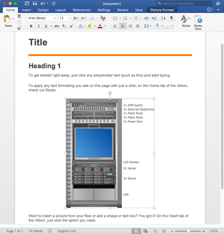 How to Add a Rack Diagram to MS Word Document *