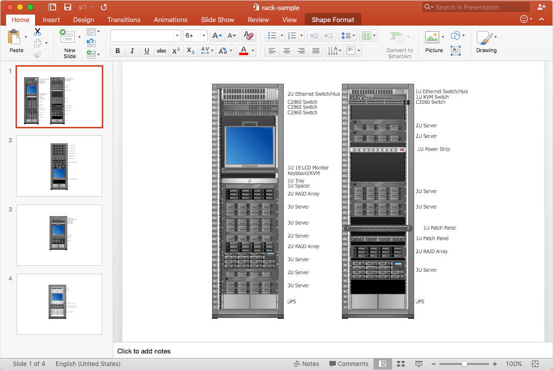 Rack Diagram to a PowerPoint Presentation