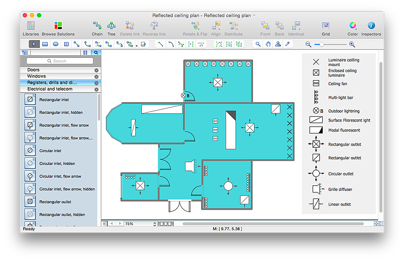Bubble diagrams in landscape design with conceptdraw pro Electrical floor plan software