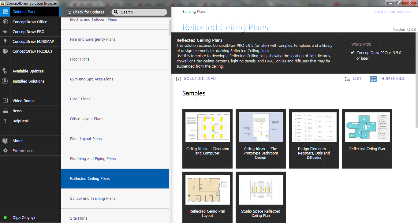 Reflected Ceiling Plans Solution in ConceptDraw STORE