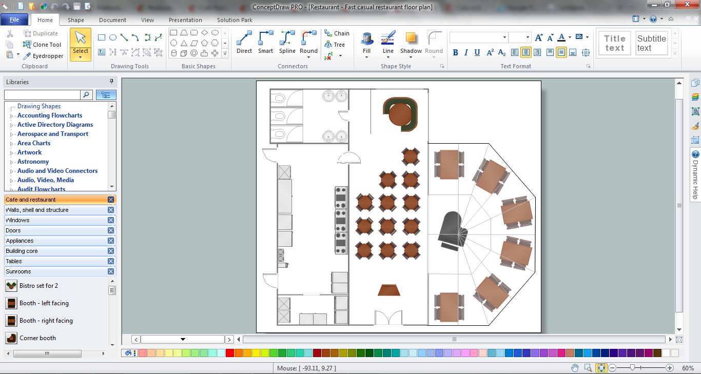 Restaurant Layouts design in ConceptDraw DIAGRAM title=
