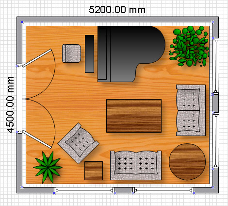 After you designed the final variant of the room plan you can print it and  use