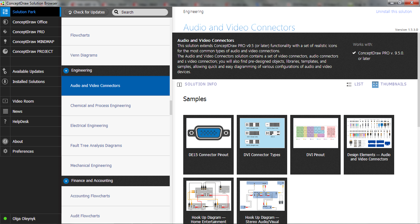 Audio and Video Connectors Solution in ConceptDraw STORE