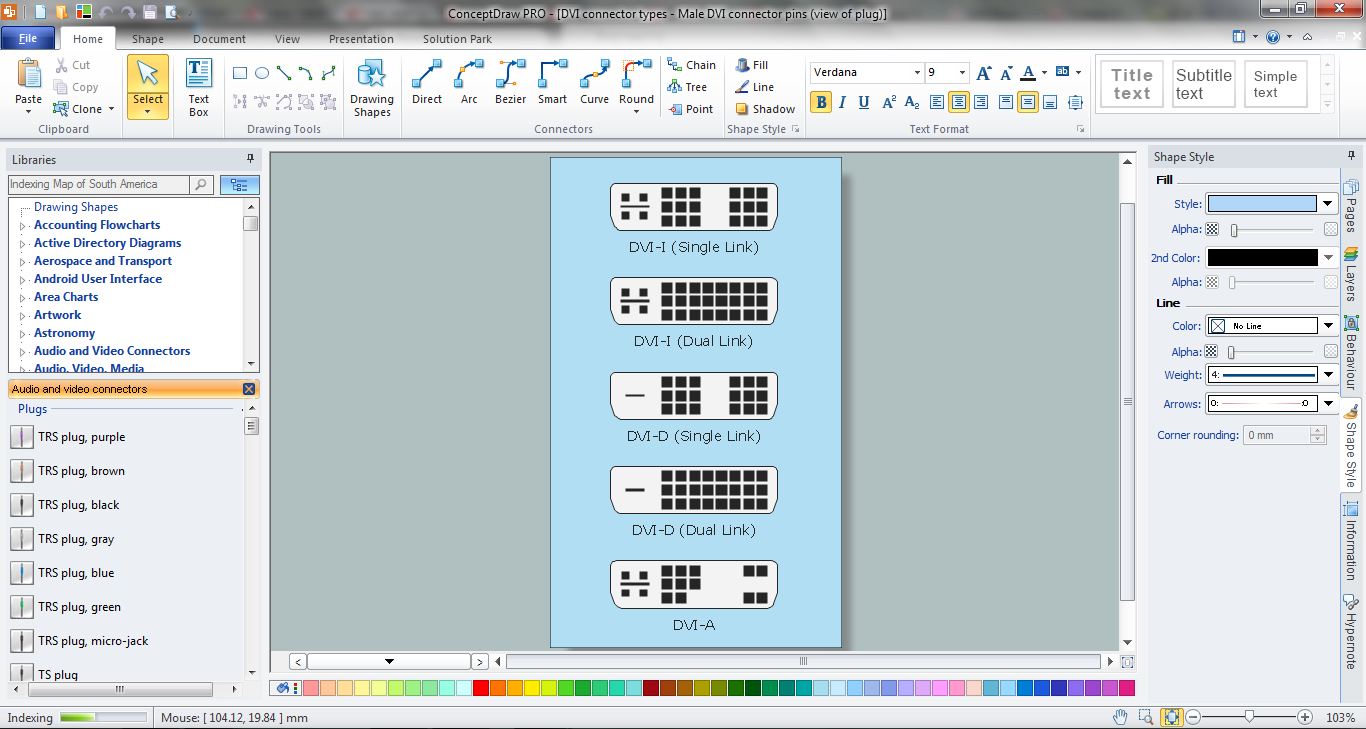 DVI Connector Types Diagram in ConceptDraw PRO
