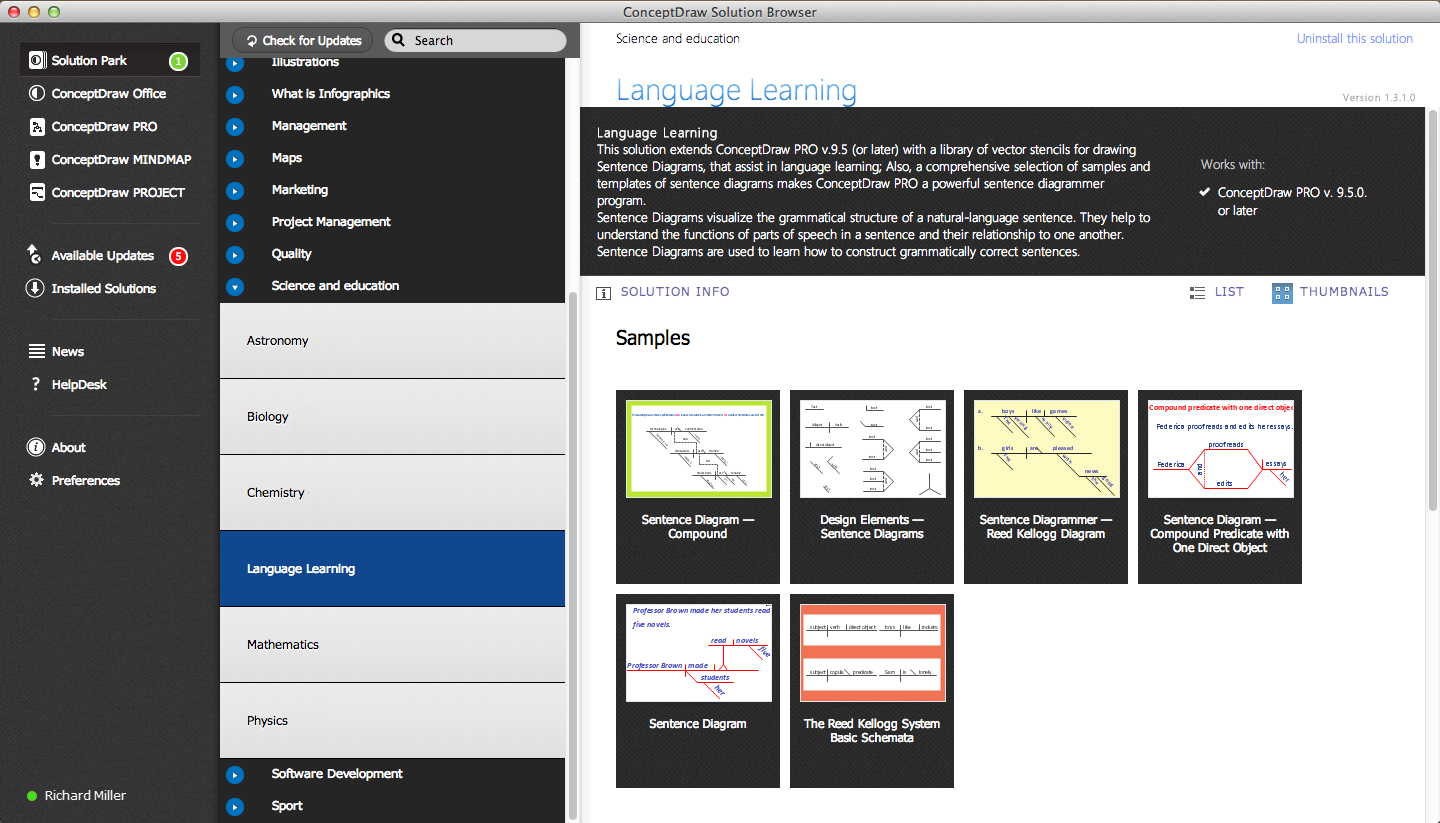 Language Learning solution in ConceptDraw Solution Browser