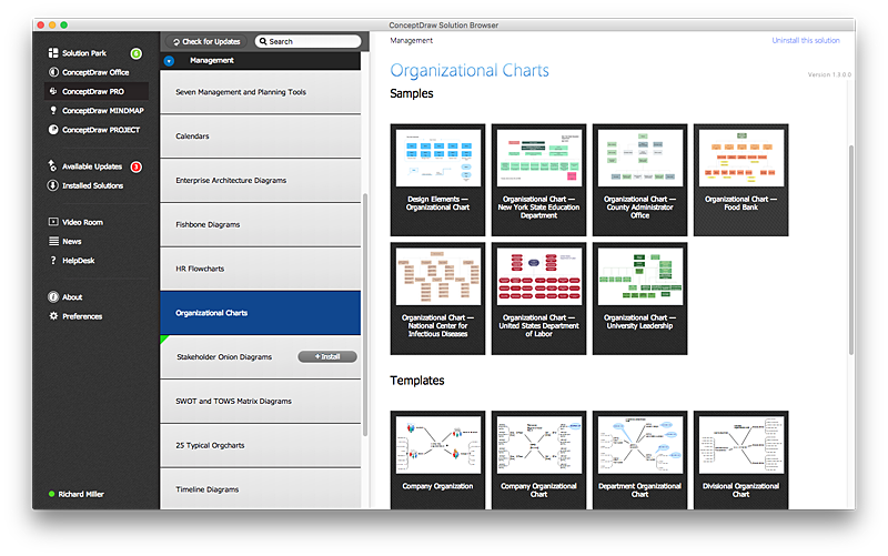 Manage ConceptDraw products and solutions on Mac