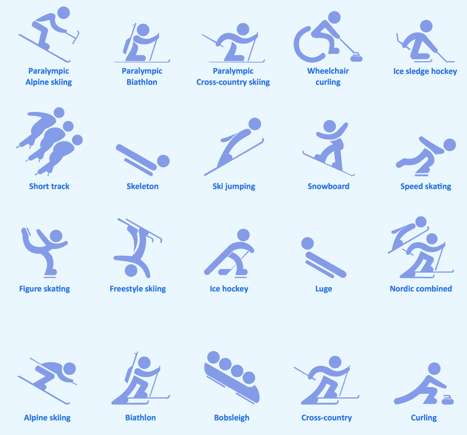 Sport Pictograms Olympic Games Design Elements Winter Olympics