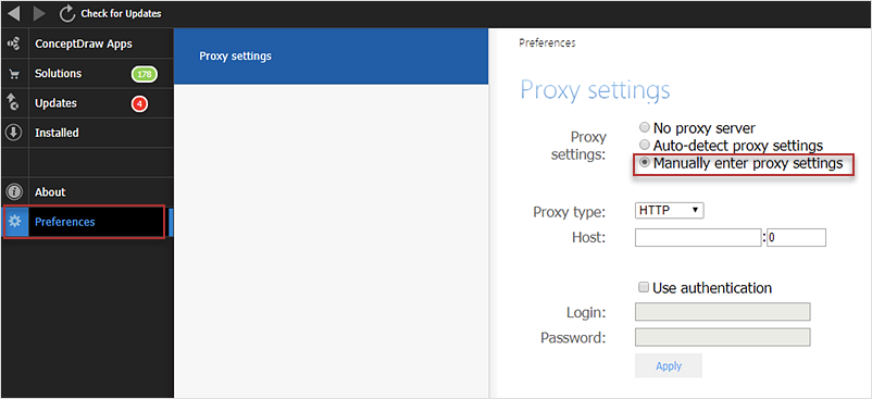 How to Download ConceptDraw Products Through a Proxy Server