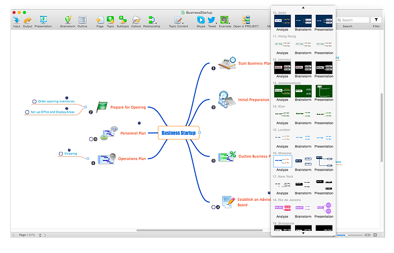 Customize the default Mind map view