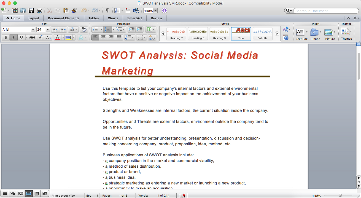 how to make swot analysis in a word document