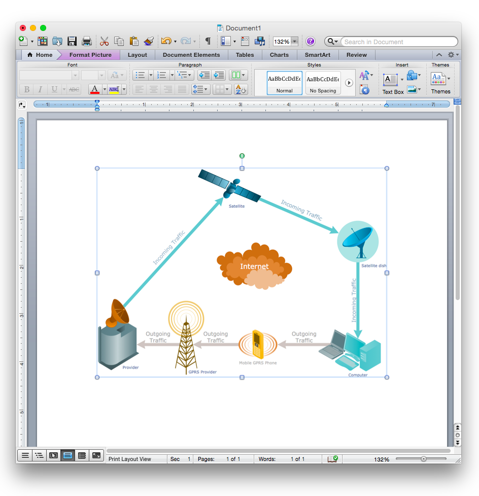 Draw network diagram based on templates and examples how to add a how to add a telecommunication network diagram to a ms word document using conceptdraw pro ccuart Images