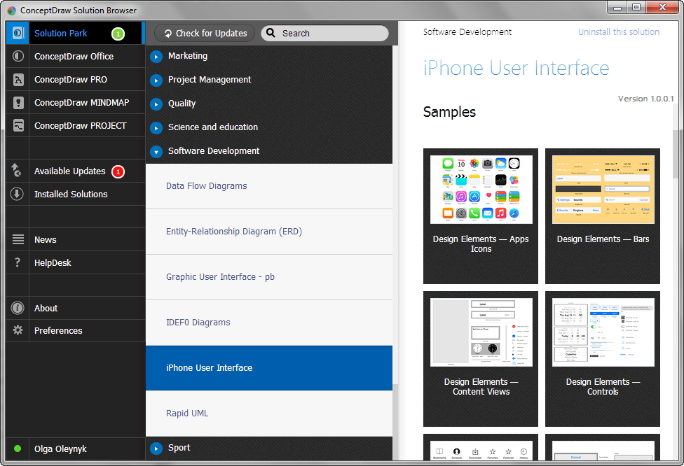 iPhone User Interface Solution in ConceptDraw STORE
