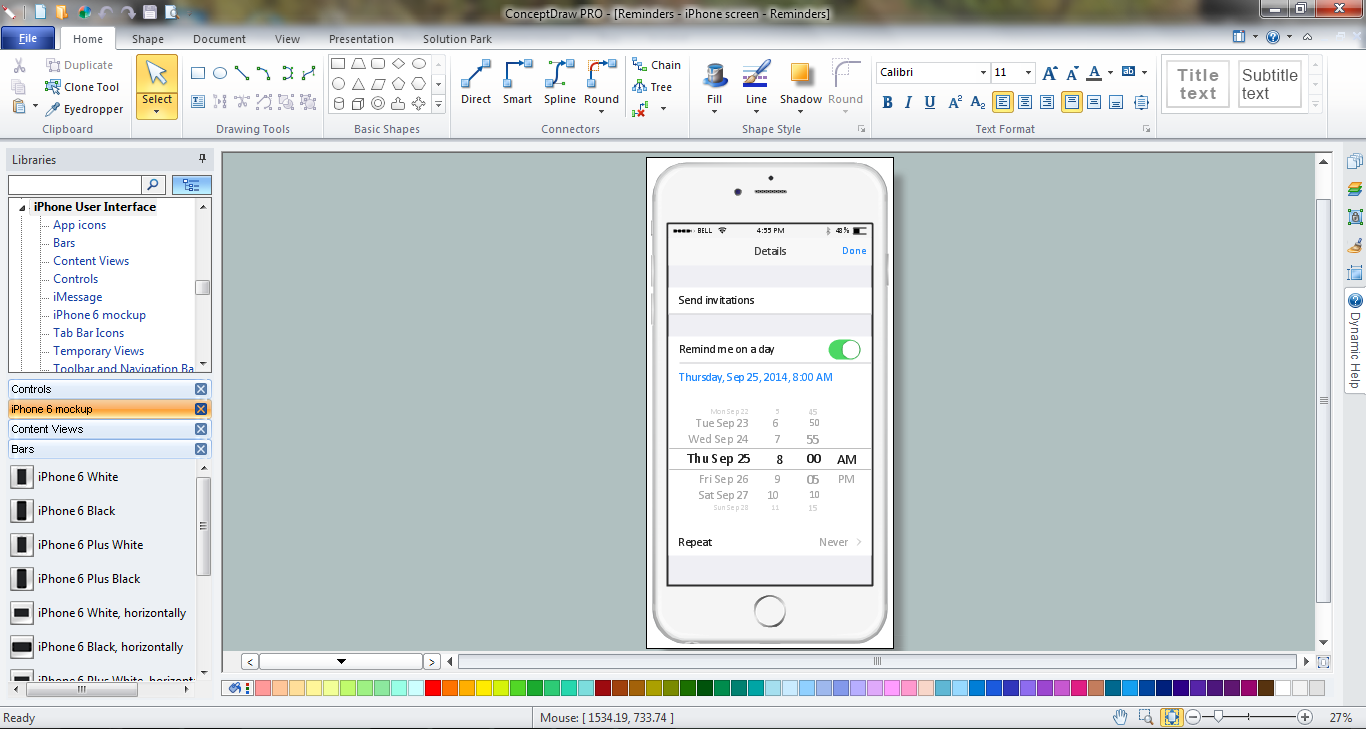 iPhone User Interface solution in ConceptDraw DIAGRAM title=