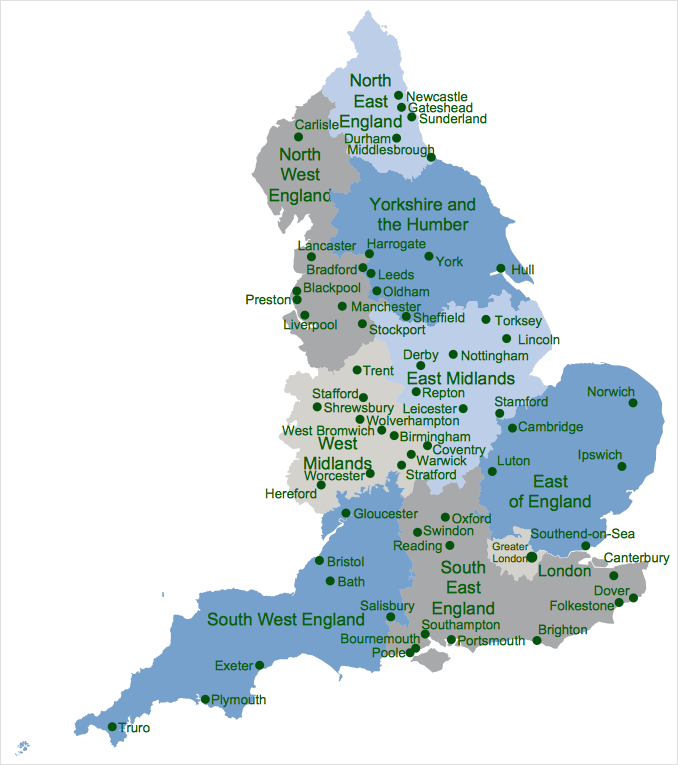 Map Of England Counties Printable.Draw A Map Of Uk Conceptdraw Helpdesk
