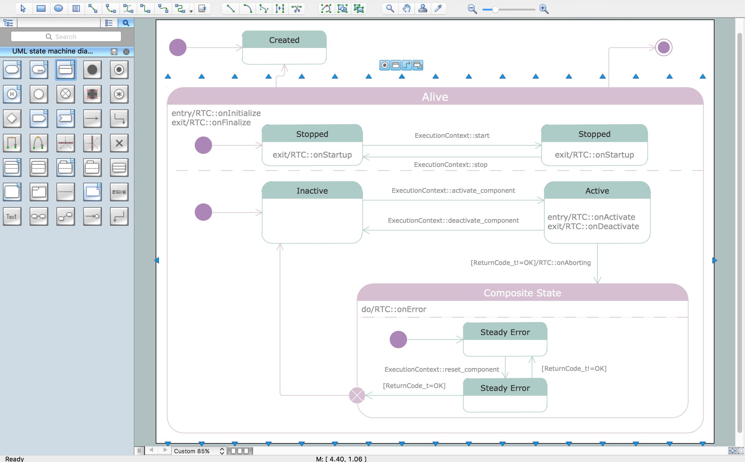 Uml State Machine Diagram Professional Drawing Example Finite