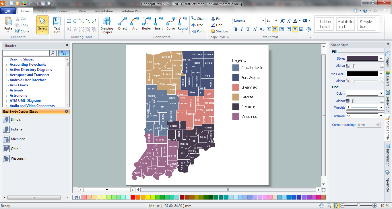 Indiana Thematic Map in ConceptDraw PRO