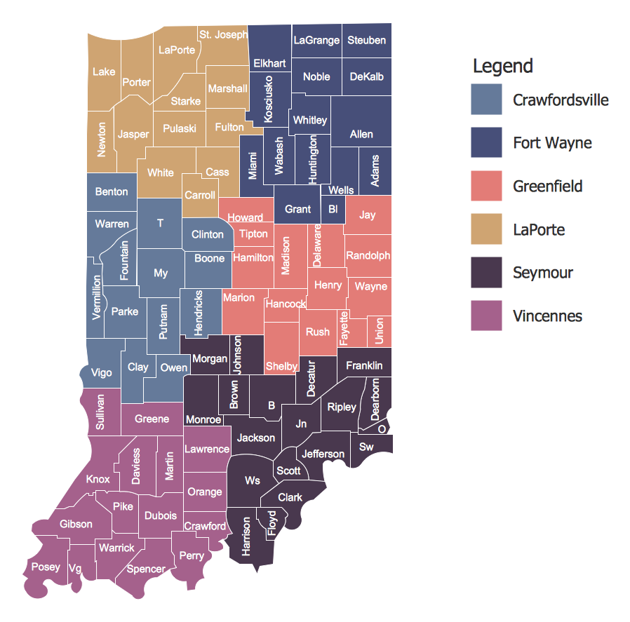 USA Maps - INDOT Districts Map