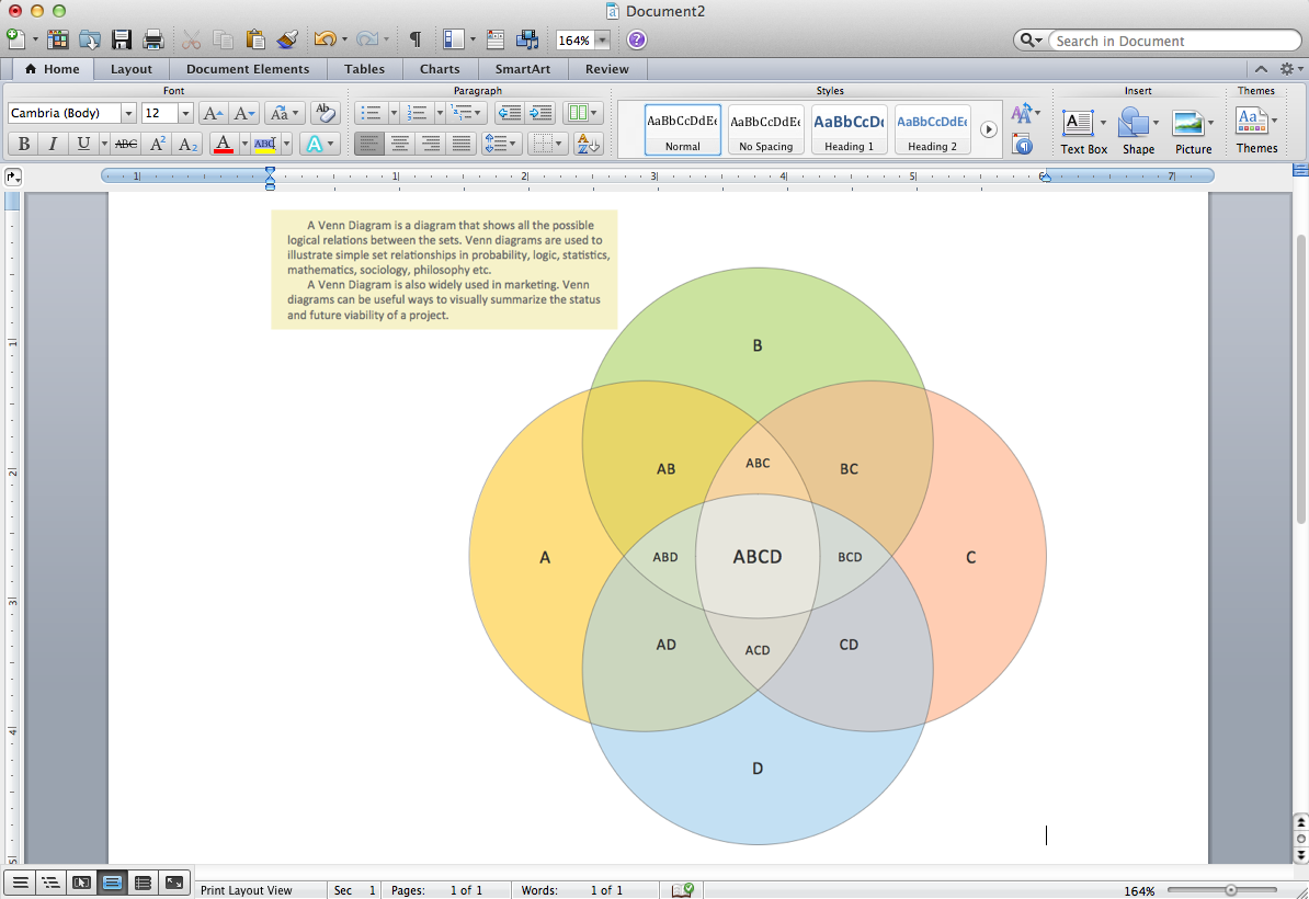 Venn Diagram Template for Word *