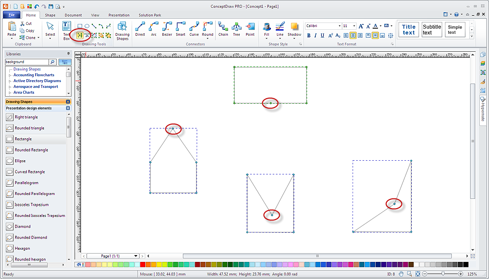 create diagram using  vertex tool