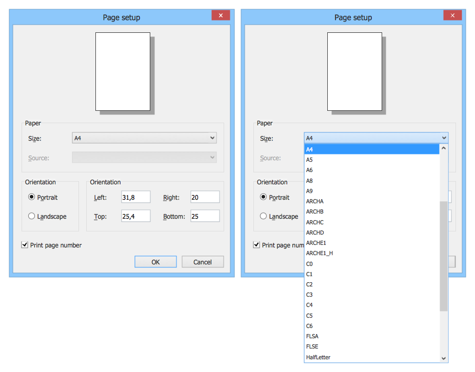 Windows 8 UI Design Patterns - Page Setup Dialog