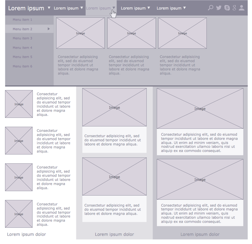 Wireframe Examples - Multi-Author Blog