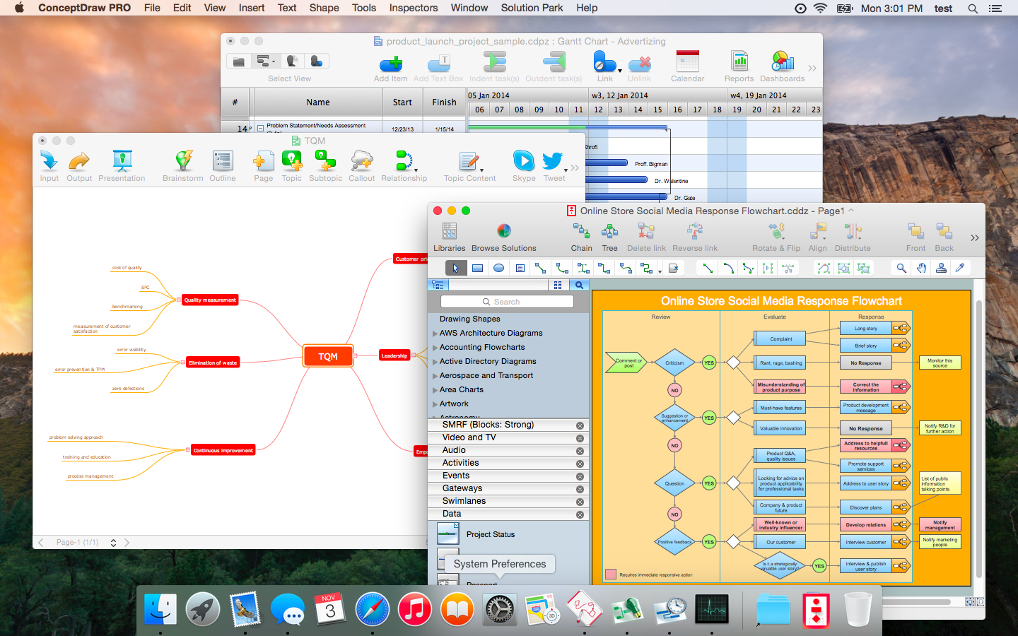 ConceptDraw Applications support Yosemite