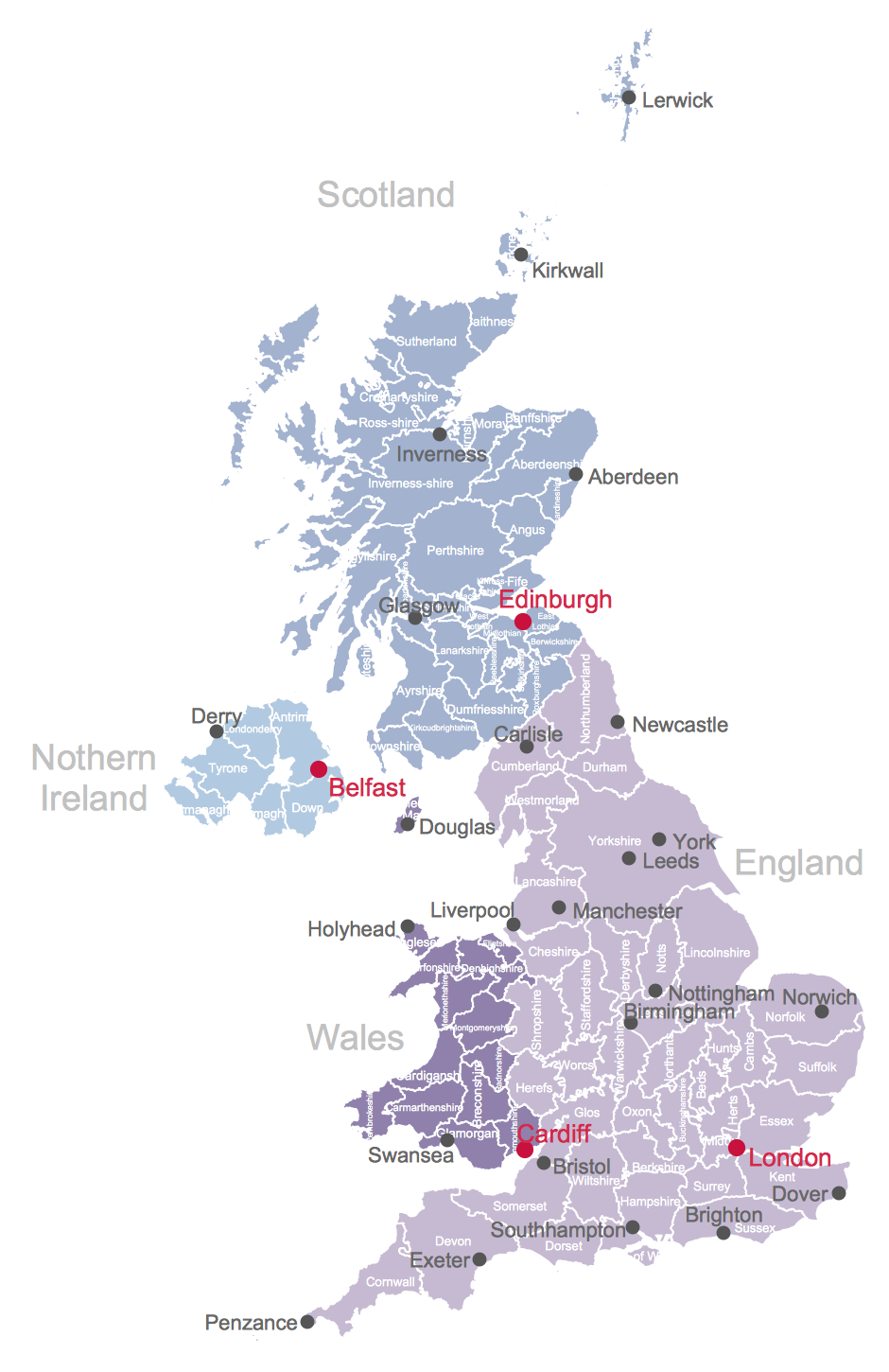 map of the british isles counties