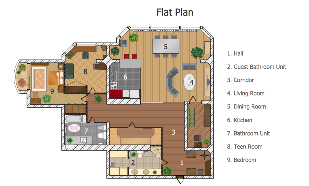 sample 2 flat plan - Sample House Plans
