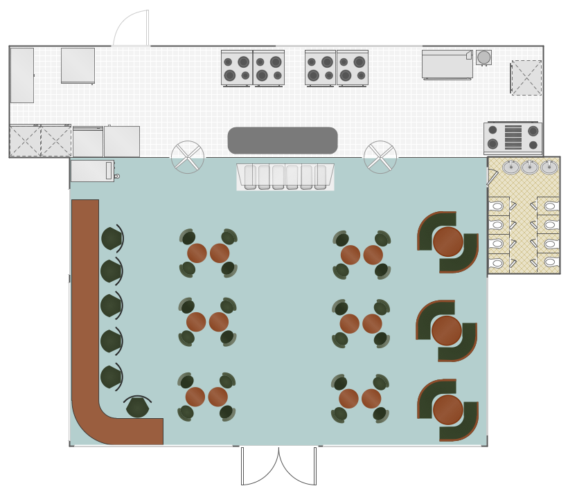 Conceptdraw samples building plans cafe and restaurant for Restaurant layout floor plan samples